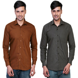 Variksh Brown and Dark Grey Color Cotton Casual Slim fit Shirt for men's (Pack Of 2)
