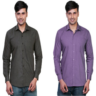 Variksh Dark Grey and Purple Color Cotton Casual Slim fit Shirt for men's (Pack Of 2)