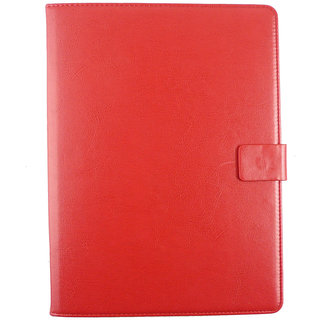 Emartbuy Alcatel Pixi 3 (7)  Tablet PC 7 Inch Universal Range Red Plain Multi Angle Executive Folio Wallet Case Cover With Card Slots + Stylus