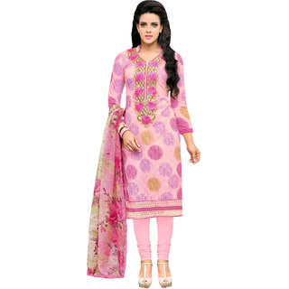 Sareemall Pink Chanderi Cotton Embroidered Embellished Dress Material
