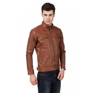 Solid Camel PU Leather Jacket- Leather Retail