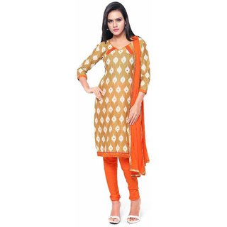 Swaron Beige and Orange Printed Cotton Unstitched Dress Material 447D3015