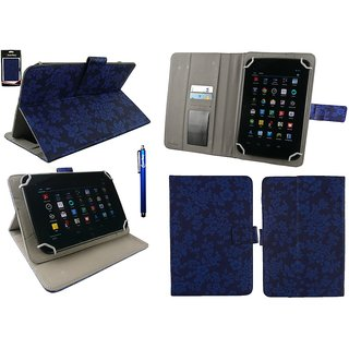 Emartbuy Huawei MediaPad 7 Youth Tablet 7 Inch Universal Range Blue Vintage Floral Multi Angle Executive Folio Wallet Case Cover With Card Slots + Stylus