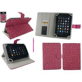 Emartbuy Datawind Ubislate 3G7+ Tablet 7 Inch Universal Range Faux Suede Leopard Hot Pink Multi Angle Executive Folio Wallet Case Cover With Card Slots + Hot Pink Stylus