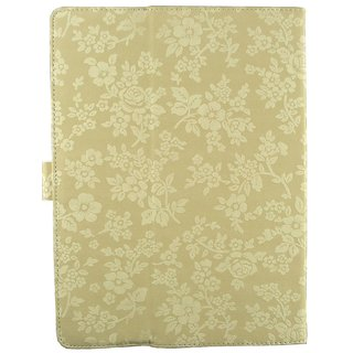 Emartbuy Ambran A3-7 Plus Tablet 7 Inch Universal Range Beige Vintage Floral Multi Angle Executive Folio Wallet Case Cover With Card Slots + Stylus