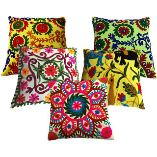 5 Outdoor Cushion Cover, Bohemian Pillow Pom Pom Pillow Cover, Suzani Pillows