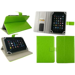 Emartbuy iball Slide O900-C Tablet 7.85 Inch Universal Range Green Multi Angle Executive Folio Wallet Case Cover With Card Slots + Green Stylus