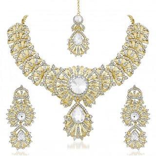 Vidhi Jewels Golden Colour Zinc Casting Necklace Set for Women VNK137G