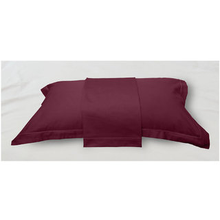 Red Solid Bed Sheet with Marrowing Pillow Covers (Bedsheets (King XL))