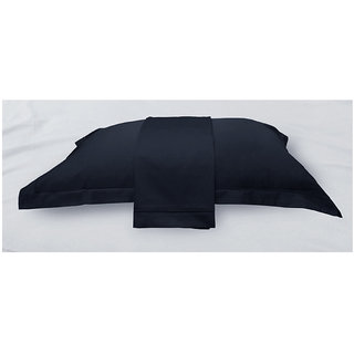Dark Navy Solid Bed Sheet with Marrowing Pillow Covers (Bedsheets (King XL))