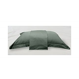 Grey Solid Bed Sheet with Marrowing Pillow Covers (Bedsheets (King XL))