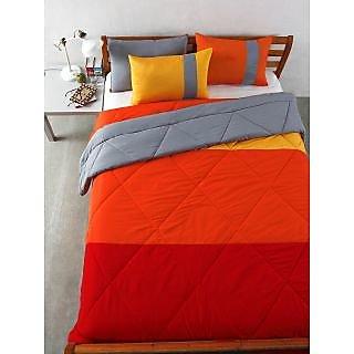 Multi Colour Microfiber Patchwork Bedding Essentials (Pillow 18X27-Orange Grey)