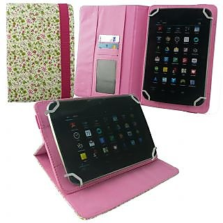 Emartbuy Lava E-Tab Xtron + / Xtron Plus Tablet 7 Inch Universal Range Floral Pink Green Multi Angle Executive Folio Wallet Case Cover With Card Slots + Hot Pink Stylus