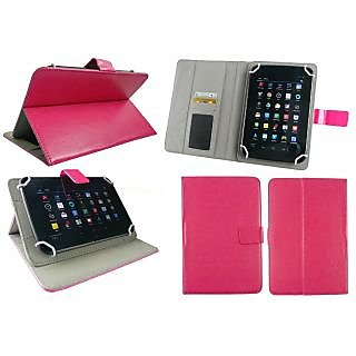 Emartbuy Penta Ws 708C Tablet 7 Inch Universal Range Hot Pink Plain Multi Angle Executive Folio Wallet Case Cover With Card Slots + Stylus