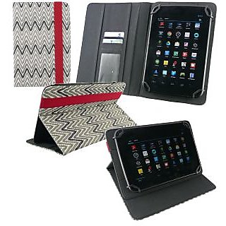 Emartbuy Notion Ink Cain 8 Tablet 8 Inch Universal Range Monochrome Zigzag Multi Angle Executive Folio Wallet Case Cover With Card Slots + Silver Stylus