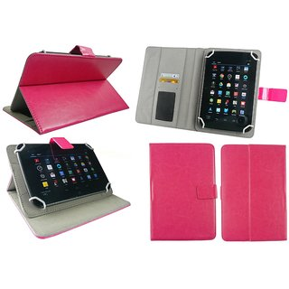 Emartbuy Iball 6095 D20 Tablet 7 Inch Universal Range Hot Pink Multi Angle Executive Folio Wallet Case Cover With Card Slots + Hot Pink Stylus