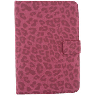 Emartbuy EE Jay 7.85 Inch Tablet PC Tablet 7 Inch Universal Range Pink Leopard Multi Angle Executive Folio Wallet Case Cover With Card Slots + Stylus