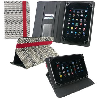 Emartbuy iBall Slide 6351-Q40 Tablet 7 Inch Universal Range MonoChrome ZigZag Multi Angle Executive Folio Wallet Case Cover With Card Slots + Stylus