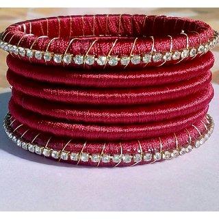 Maroon  silk thread bangles