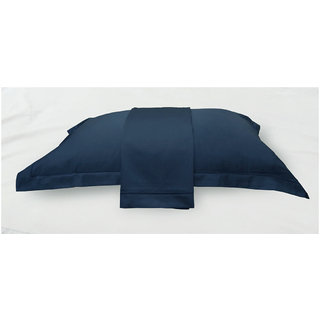 Navy Solid Bed Sheet with Marrowing Pillow Covers (Bedsheets (Single))