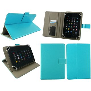 Emartbuy Swipe 3D Life Tab X74 Tablet 7 Inch Universal Range Turquoise Plain Multi Angle Executive Folio Wallet Case Cover With Card Slots + Stylus