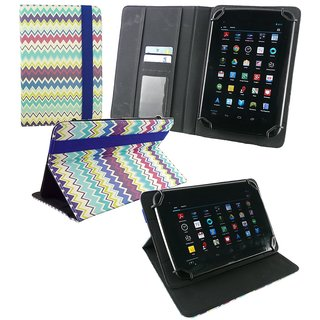 Emartbuy Micromax Funbook Alpha P250 Tablet 7 Inch Universal Range Multi Coloured Zigzag Multi Angle Executive Folio Wallet Case Cover With Card Slots + Blue Stylus