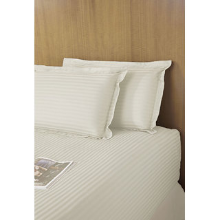 Ivory 320 TC Sateen Stripe Bedlinen (Bedsheet (Single))