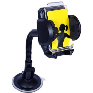 Mobile Phone Car Mount Holder/Cradle, 360 Rotateable Holder Secure Mobile Phone Stand-Black for Lava Iris 505