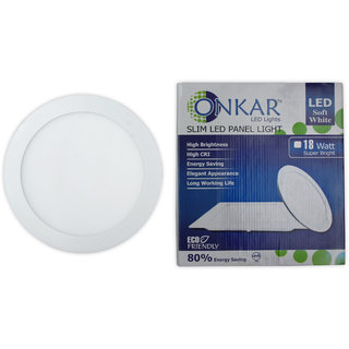 Onkar Led Slim Panel Light Round 18 Watt  Neutral White (yellowish) Colour With 2 years Guarantee