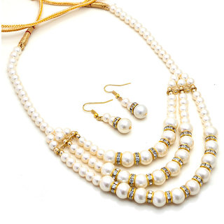 Vintage Handmade Cultured Pearl Gold Plated Party wear Necklace with Earrings n51435