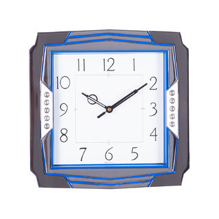 eCraftIndia Decorative Analog Blue Square Wall Clock