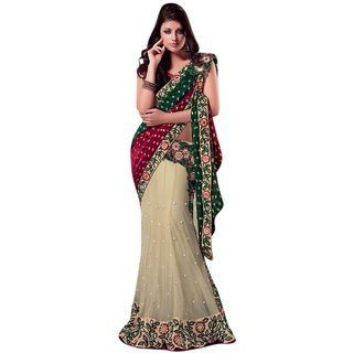 Aagaman Fashion Exquisite Cream Colored Embroidered Net Viscose Sarees