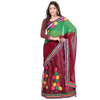 Aagaman Fashion Tantalizing Maroon Colored Border Worked Faux Georgette Jacquard Net Sarees