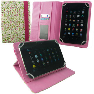 Emartbuy Lava Z7C+ Tablet 7 Inch Universal Range Pink/Green Floral Multi Angle Executive Folio Wallet Case Cover With Card Slots + Stylus