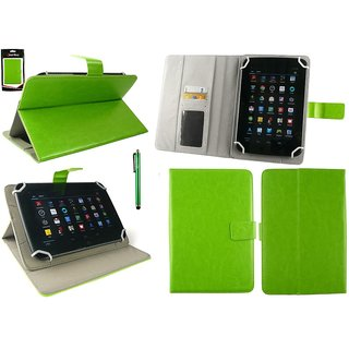Emartbuy Videocon VA75 Tablet 7 Inch Universal Range Green Plain Multi Angle Executive Folio Wallet Case Cover With Card Slots + Stylus