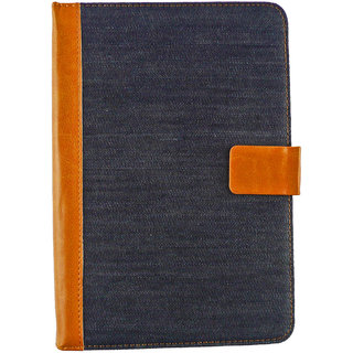 Emartbuy Mediacom SmartPad i2 7 Tablet PC 7 Inch Universal Range Blue Denim Multi Angle Executive Folio Wallet Case Cover With Card Slots + Stylus