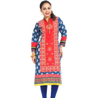 DressurPersona Multicoloured Cotton Printed Kurti for Women