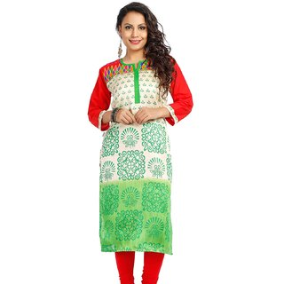 DressurPersona Multicoloured Cotton Printed Kurti for Women