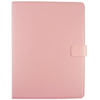 Emartbuy Videocon Va81 Tablet 7 Inch Universal Range Baby Pink Plain Multi Angle Executive Folio Wallet Case Cover With Card Slots + Stylus