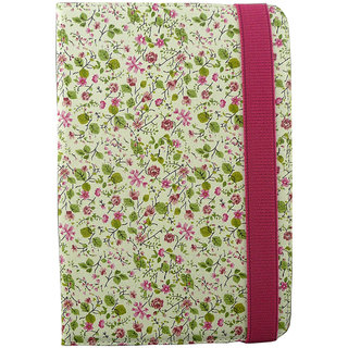 Emartbuy Medion LifeTab P7331 Tablet 7 Inch Universal Range Pink / Green Floral Multi Angle Executive Folio Wallet Case Cover With Card Slots + Stylus