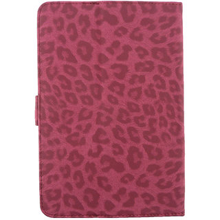 Emartbuy Videocon VA75 Tablet 7 Inch Universal Range Pink Leopard Multi Angle Executive Folio Wallet Case Cover With Card Slots + Stylus