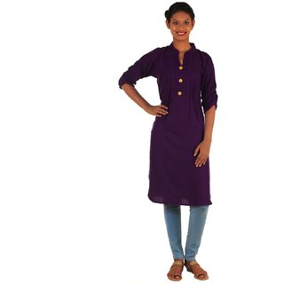 DressurPersona Purple Rayon Plain Kurti for Women