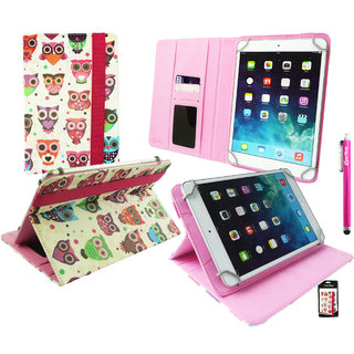 Emartbuy Wishtel Ira Thing 7 3G Tablet 7 Inch Universal Range Multi Coloured Owls Multi Angle Executive Folio Wallet Case Cover With Card Slots + Hot Pink Stylus