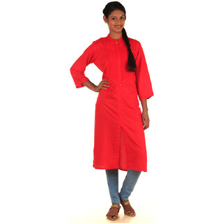 DressurPersona Red Cotton Plain Kurti for Women