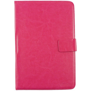 Emartbuy Tescom 4GB 2G Tablet 7 Inch Universal Range Hot Pink Plain Multi Angle Executive Folio Wallet Case Cover With Card Slots + Stylus