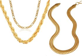 Dipali Combo Of Three Gold Plated Alloy Chain for Men