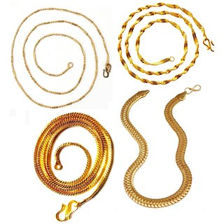 Dipali Combo Of Four Gold Plated Alloy Chain