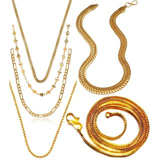 Dipali Combo Of Six Gold Plated Alloy Chain