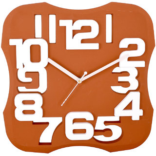 eCraftIndia Decorative Analog Orange Wall Clock