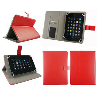 Emartbuy Vizio Dongle Tab-VZK01 Tablet 7 Inch Universal Range Red Plain Multi Angle Executive Folio Wallet Case Cover With Card Slots + Stylus